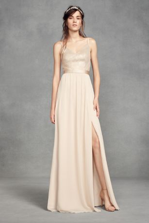 Long Sheath Spaghetti Strap Dress - White by Vera Wang