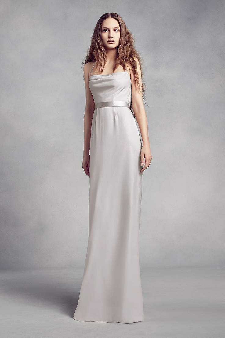ed3af86039fd Soft & Flowy White by Vera Wang Long Bridesmaid Dress
