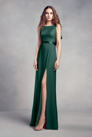 Soft & Flowy;Structured White by Vera Wang Long Bridesmaid Dress
