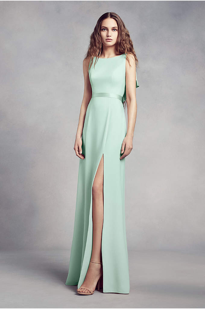 High-Neck Crepe Bridesmaid Dress with Ruffles