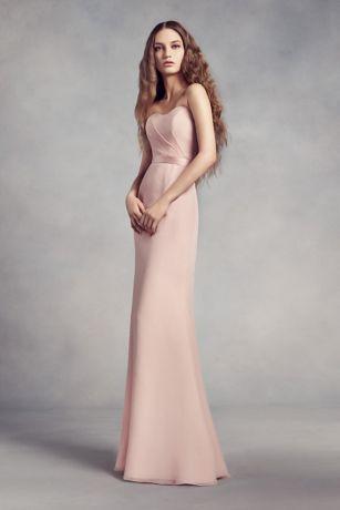 Soft & Flowy White by Vera Wang Long Bridesmaid Dress