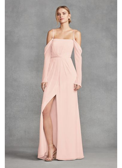Long Sleeve Cold Shoulder Chiffon Bridesmaid Dress David