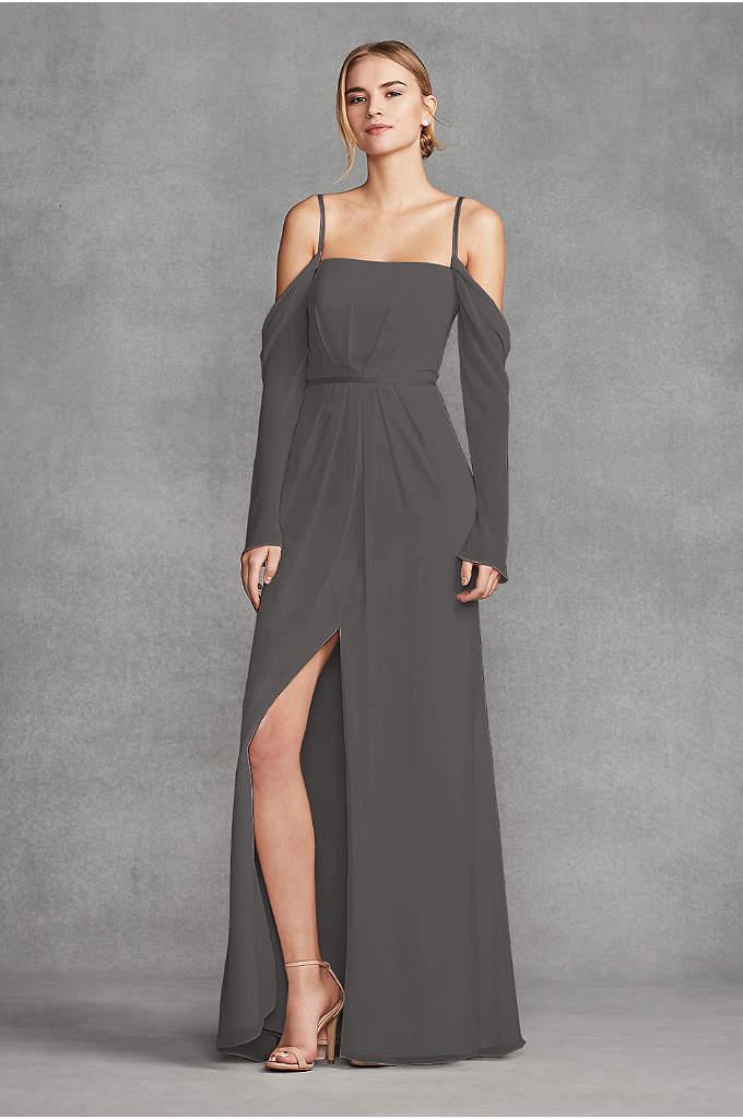 Long Sleeve Cold Shoulder Chiffon Bridesmaid Dress - This cold-shoulder soie chiffon sheath bridesmaid dress from