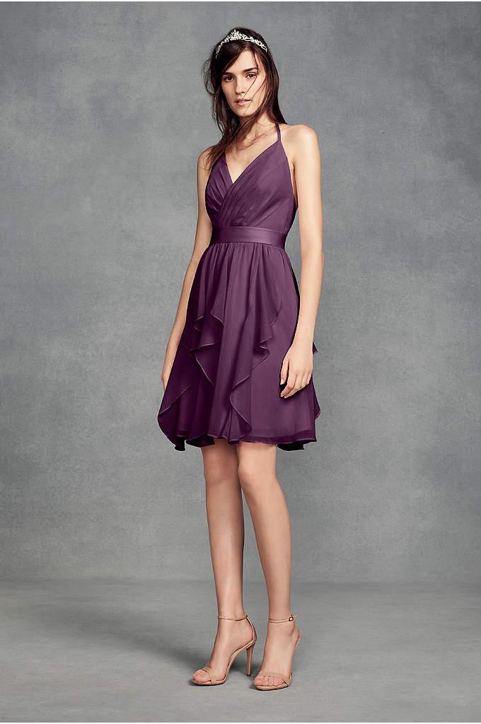 Short Chiffon Bridesmaid Dress with Cascade Skirt - A sleek dress for modern 'maids, this surplice-bodice,