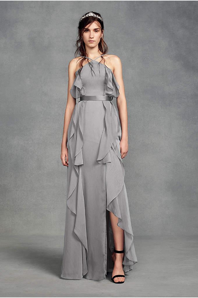 Chiffon High-Neck Bridesmaid Dress with Tie Back