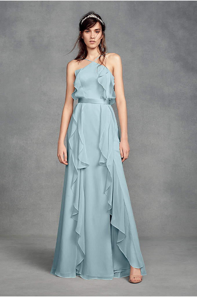 Chiffon High-Neck Bridesmaid Dress with Tie Back - This high-neck chiffon bridesmaid dress from White by