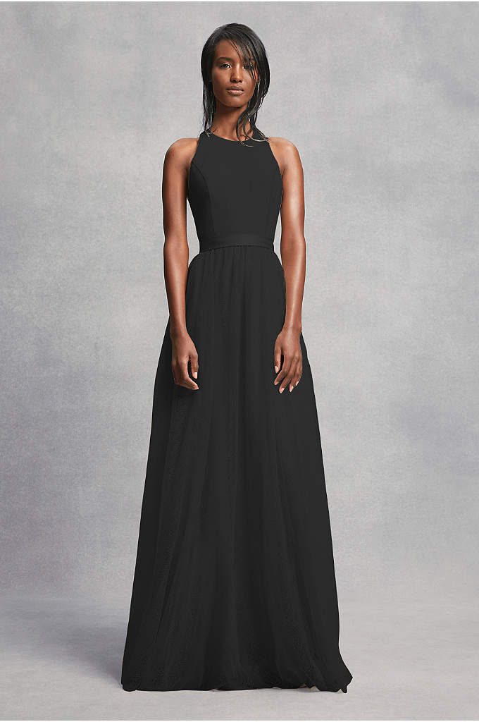 Crepe and Tulle T-Back Bridesmaid Dress