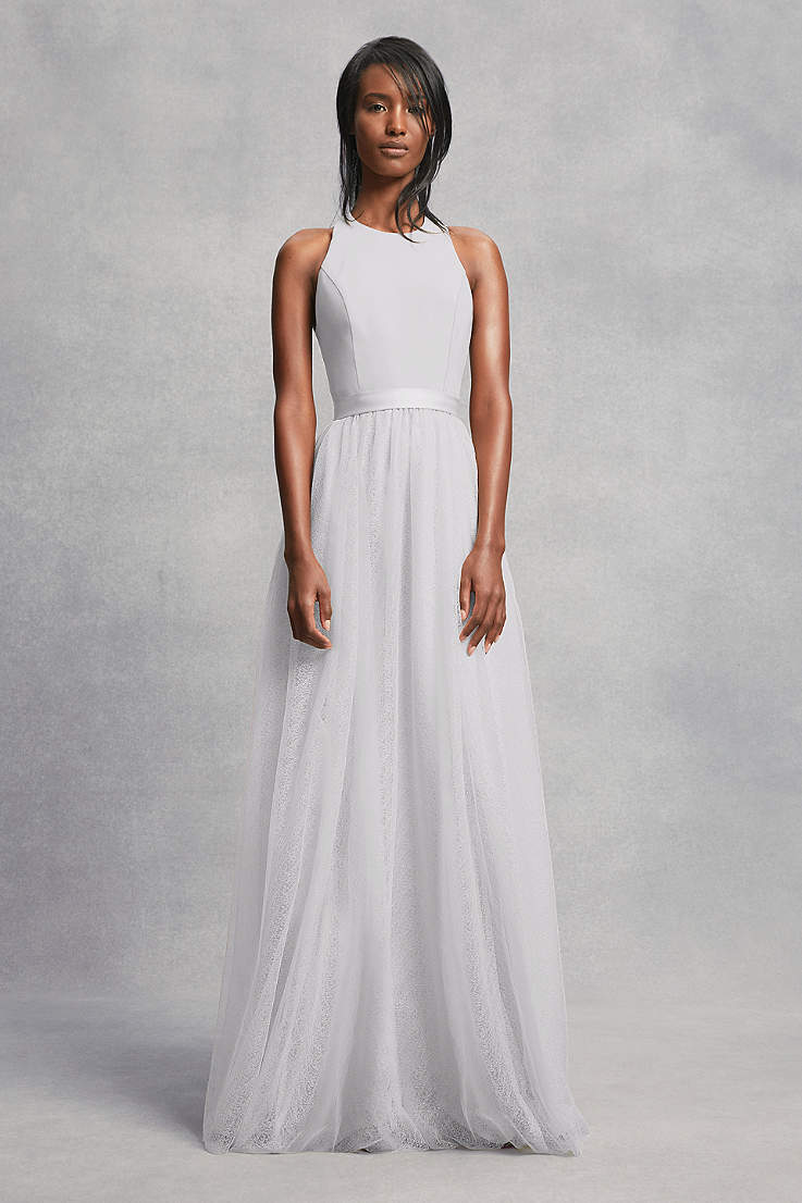 25247a0c83b5 Soft & Flowy;Structured White by Vera Wang Long Bridesmaid Dress