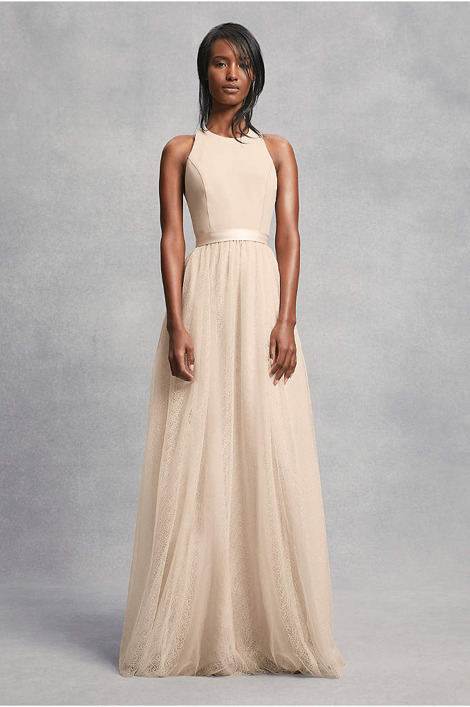 Crepe and Tulle T-Back Bridesmaid Dress - A luxurious bridesmaid dress from White by Vera