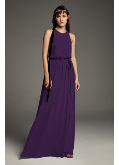 Georgette-Over-Charmeuse Blouson Bridesmaid Dress - This modern blouson bridesmaid dress features flowing georgette