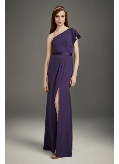 Ruffled One-Shoulder Double Cloth Bridesmaid Dress - Crafted of figure-flattering double cloth, a drapey knit