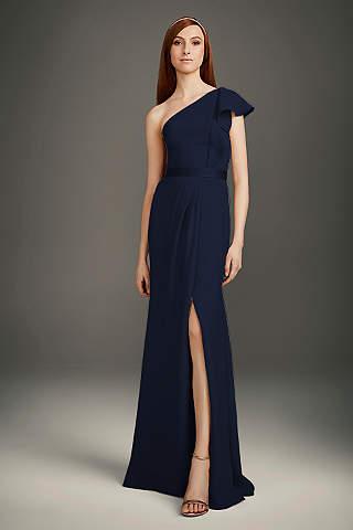 Vestido De Dama Un Hombro Con Olán
