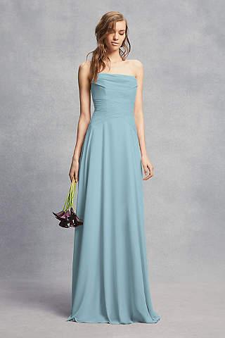 Vestido Para Dama de Honor Strapless Recto de Georgette