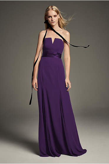 V-Wire Crepe Bridesmaid Dress with Wide Satin Sash