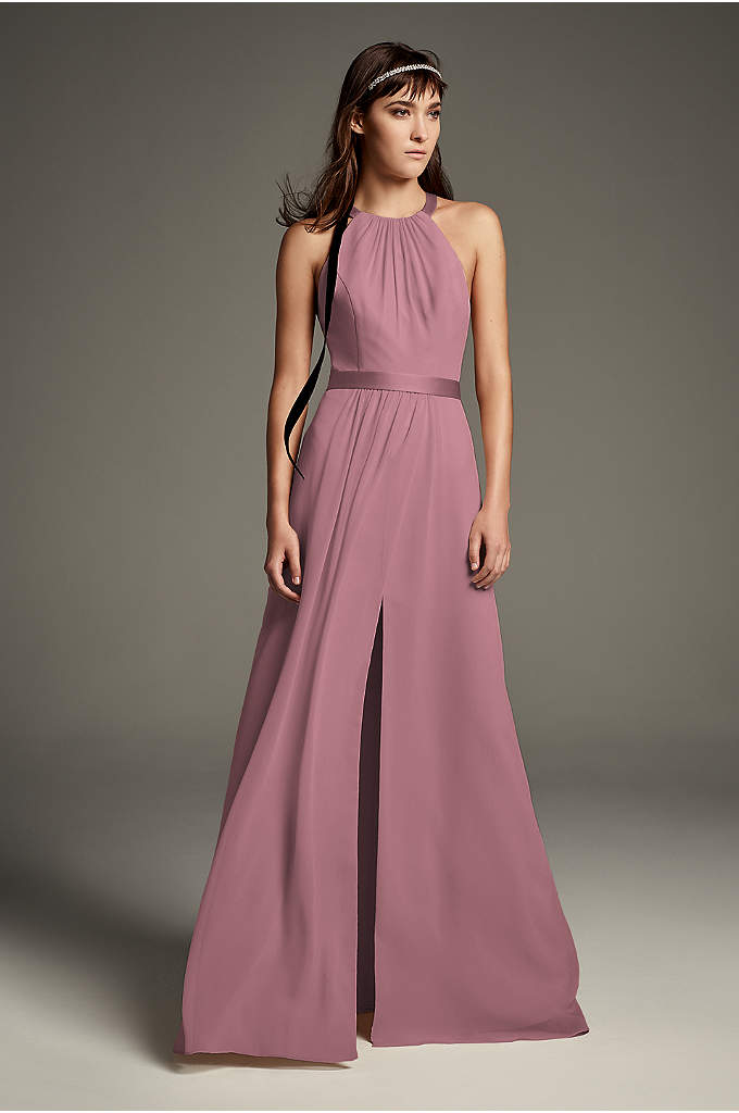 High Neck Crisscross Back Chiffon Bridesmaid Dress