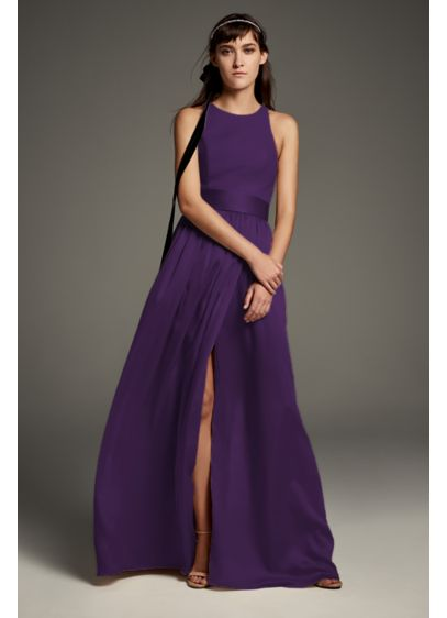 High-Neck Crepe Halter Bridesmaid Gown with Sash - This high-neck, crepe-bodice halter gown features a bow