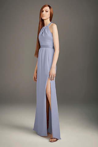 Vestido de Dama Plisado Espalda Cruzada