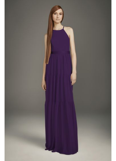 Georgette Bridesmaid Dress with Peasant Skirt - A subtle take on the boho trend, this