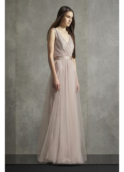 Long Grey Soft & Flowy White by Vera Wang Bridesmaid Dress