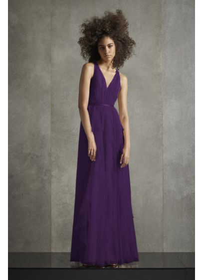 Bobbin Net Plunging Flange Skirt Bridesmaid Dress - Soft, sweeping ruffled flanges cascade down the skirt