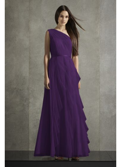 Bobbin Net One Shoulder Flange Bridesmaid Dress - Soft, sweeping ruffled flanges cascade down the skirt