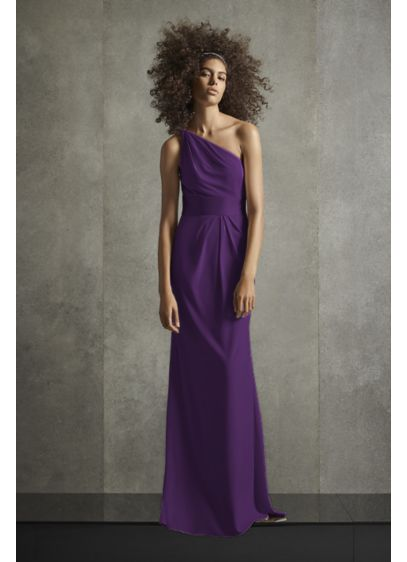 One Shoulder Jersey Satin Trim Bridesmaid Dress - Soft pleats at the one-shoulder neckline and sheath