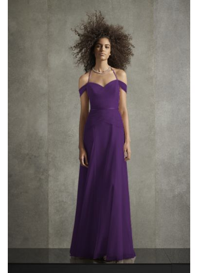 Pleated Bobbin Net Bridesmaid Dress with Tie Swags - A versatile option for every bridal party, this