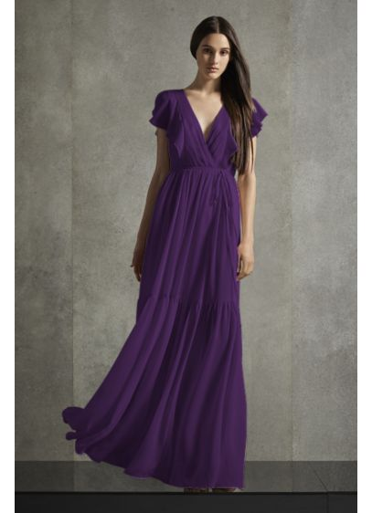 Flutter Sleeve V-Neck Tiered Bridesmaid Dress - With romantic flutter sleeves and a flounced hem,