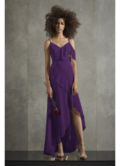 Asymmetric Ruffle Spaghetti Strap Bridesmaid Dress - A romantic ruffle cascades from the off-the-shoulder swag