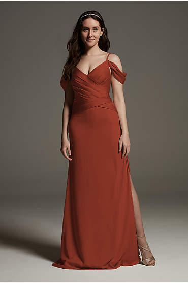 Shine Bodice Off Shoulder Crepe Bridesmaid Dress