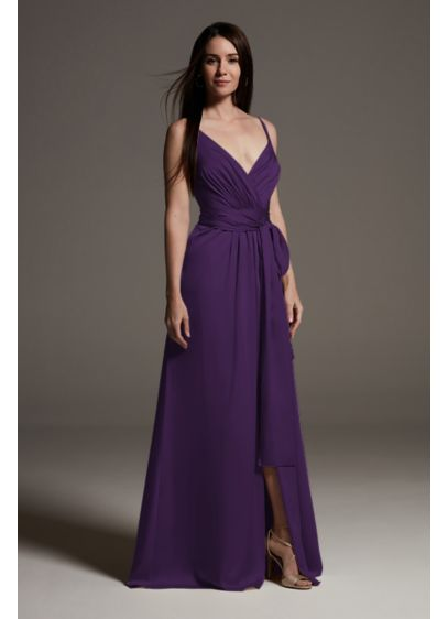 Charmeuse Bridesmaid Dress with Deep V-Neckline - A slinky, sleek option for maids, this shiny