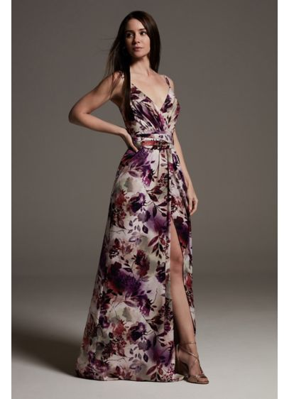 Printed Charmeuse Bridesmaid Dress with V-Neckline - A slinky, sleek option for maids, this printed