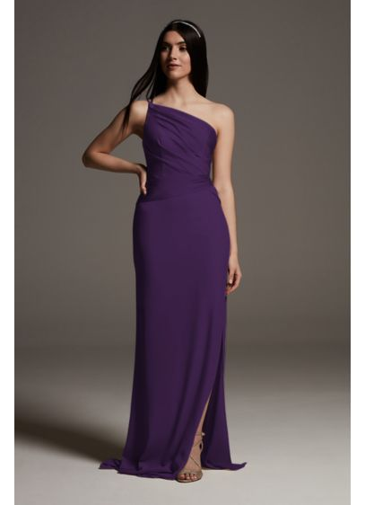 Shine Bodice One-Shoulder Crepe Bridesmaid Dress - This bridesmaid dress is the picture of modern