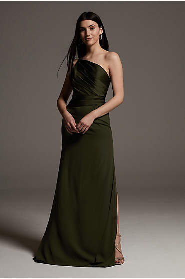 Shine Bodice One-Shoulder Crepe Bridesmaid Dress