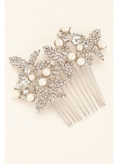 White by Vera Wang Grey (Embellished Leave Comb with Pearls)