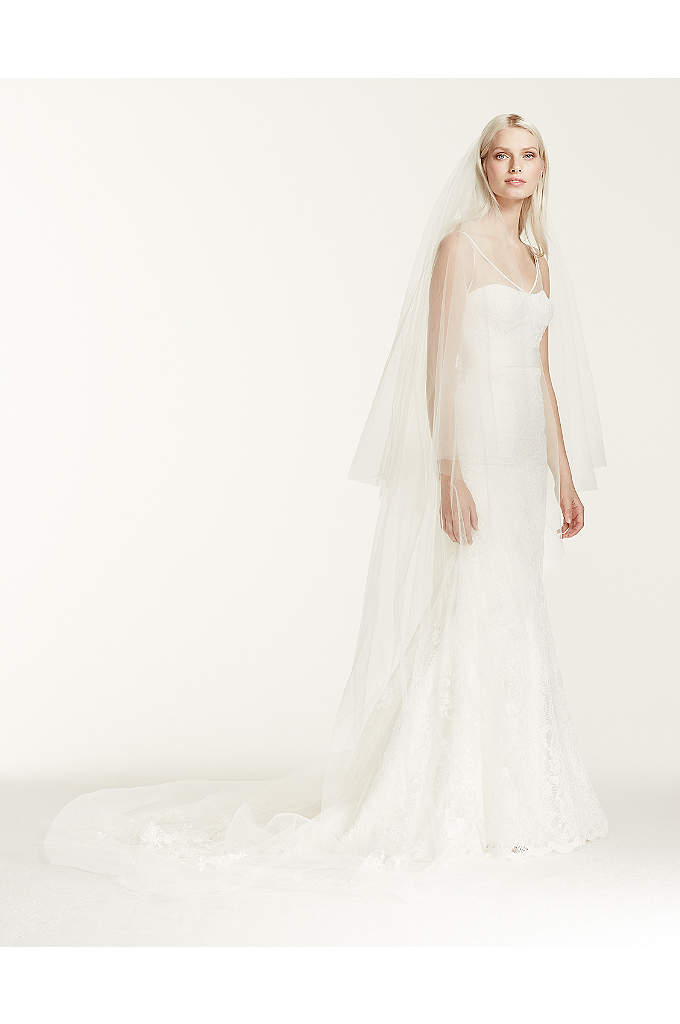 Two-tier Chapel Length Veil with Lace Applique - Two-tier chapel length veil with raw cut edge