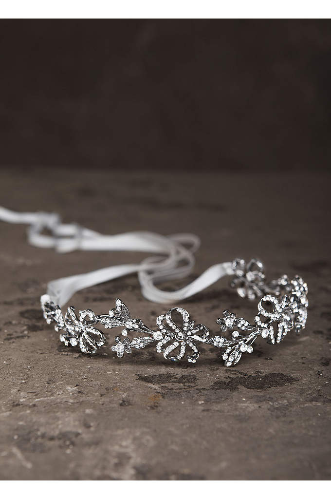 Garland Headband in Antique Crystal with Ribbon