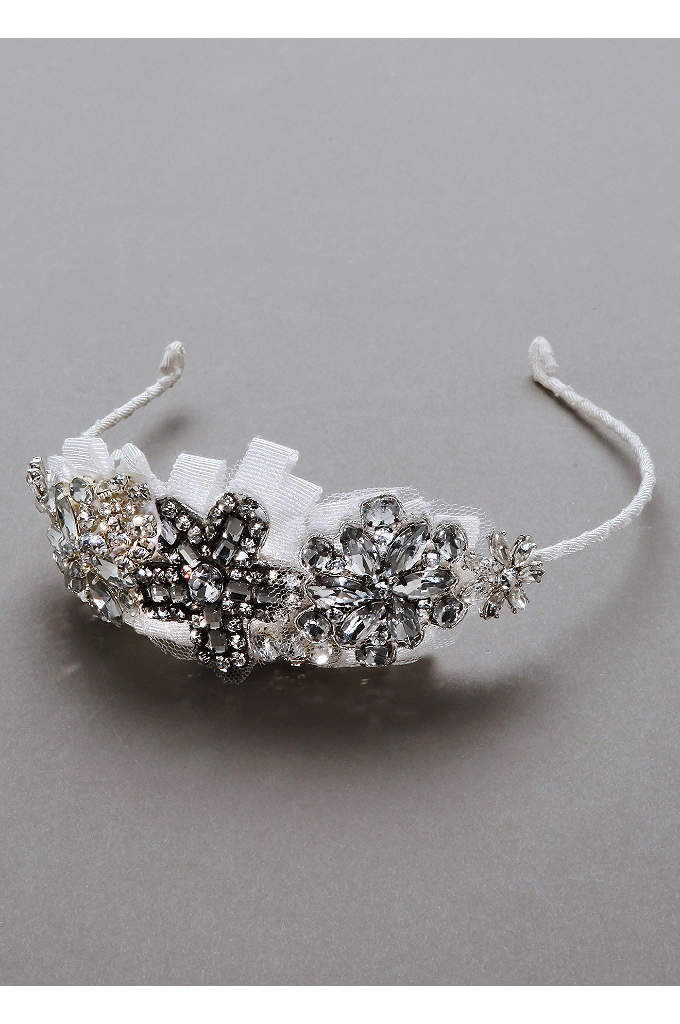 Crystal Flower and Grosgain Ribbon Headband