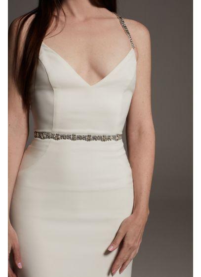 Baguette Crystal Burst Ribbon Sash - Wedding Accessories