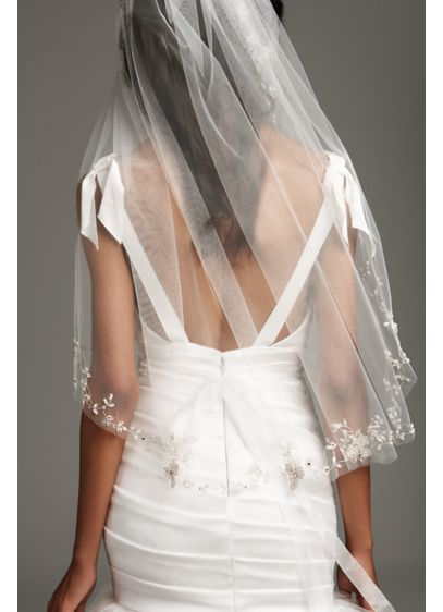 Embroidered Floral Garland Mid-Length Veil - White by Vera Wang's beautiful mid-length tulle veil