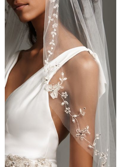 Embroidered Floral Garland Cathedral-Length Veil - White by Vera Wang's beautiful cathedral-length tulle veil