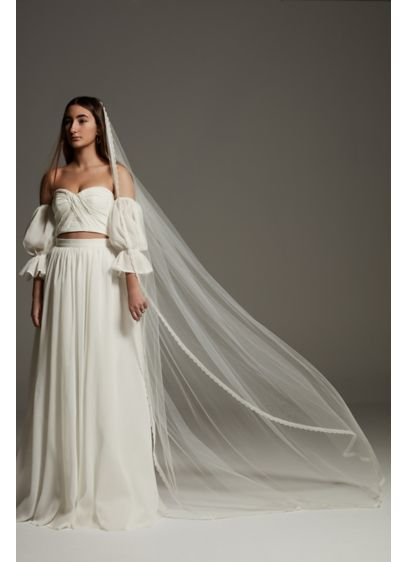 Cathedral Tulle Veil with Scalloped Crochet Trim - Pair this White by Vera Wang cathedral-length tulle