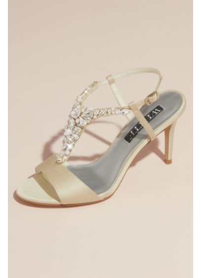 Crystal and Pearl Vamp T-Strap Satin Sandals - These high-heeled satin sandals truly dazzle thanks to