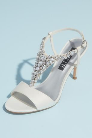 White by Vera Wang Ivory Heeled Sandals (Crystal and Pearl Vamp T-Strap Satin Sandals)