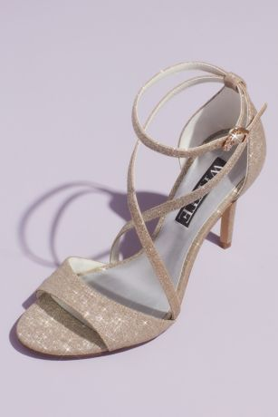 White by Vera Wang Blue;Ivory;Pink;White Heeled Sandals (Glitter Crisscross Heeled Sandals with Ankle Wrap)