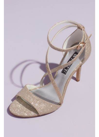 Glitter Crisscross Heeled Sandals with Ankle Wrap - Give your evening look sophisticated sparkle wearing these