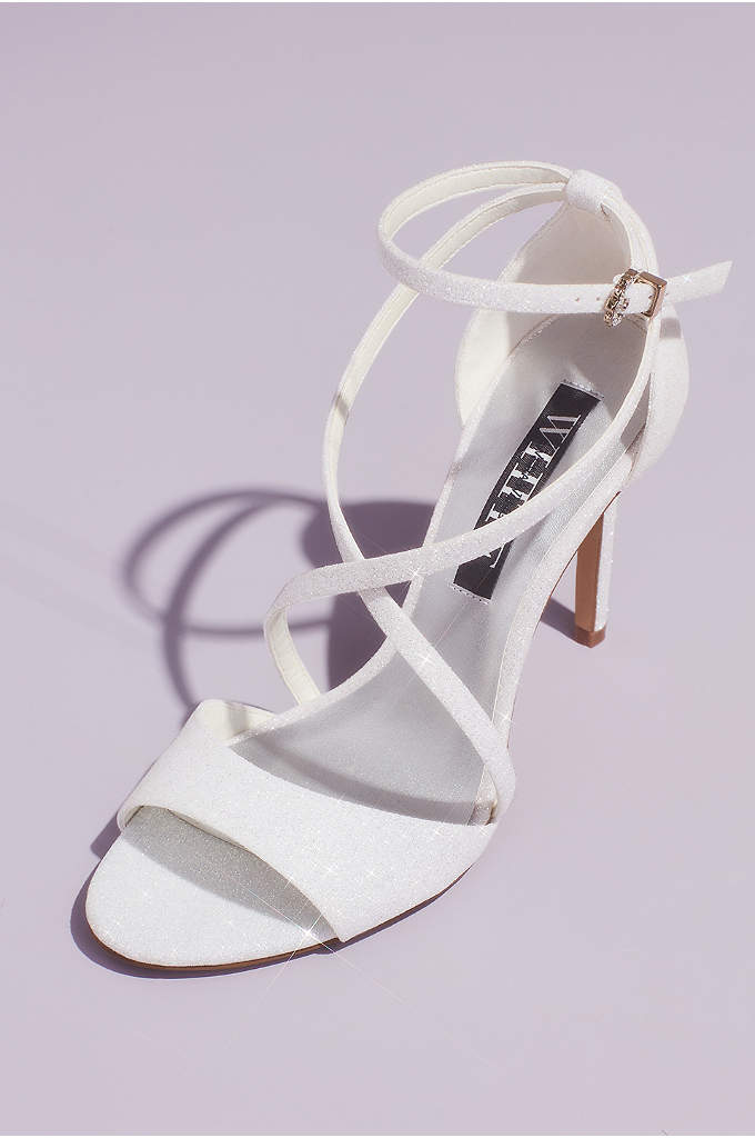 Glitter Crisscross Heeled Sandals with Ankle Wrap