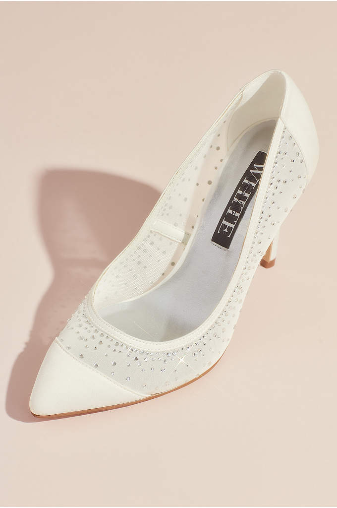 Crystal Embellished Satin and Illusion Mesh Pumps