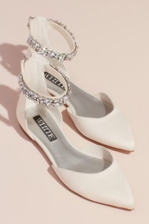 """White by Vera Wang Ivory Ballet Flats (Satin d""""Orsay Flat with Embellished Ankle Strap)"""
