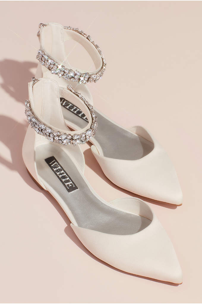 Satin d Orsay Flat with Embellished Ankle Strap